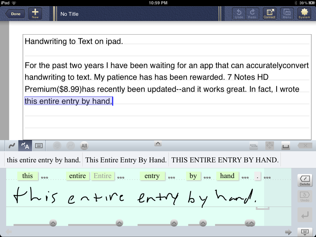 Review of 7Notes HD Premium -Handwriting to Text on iPad